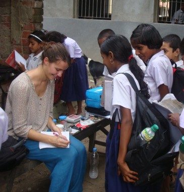 Caroline measuring arsenic levels at Krishna Chandrapur High School, 24 Paraganas South, West Bengal in July of 2012
